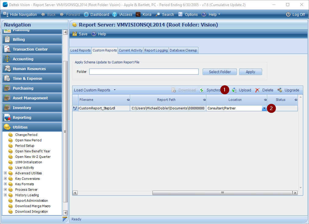 Report Administration (cloud) Screenshot
